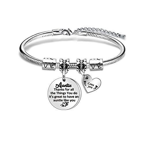 Pulsera Love You Auntie para mujer, regalo de tía de sobrina, sobrina, regalo de agradecimiento para joyería de agradecimiento de tía