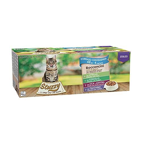 Stuzzy, Comida Húmeda para Gatos Esterilizados, Varios Sabores, Bocaditos en Salsa - Total 4,08 kg (48 Sobres x 85 gr: 12 Pavo; 12 Pato; 12 Ternera; 12 Conejo)