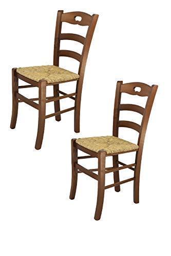 Tommychairs sillas de Design - Set de 2 sillas Savoie 38 Cocina, Comedor, Bar y Restaurante con Estructura en Madera Color Nuez y con Asiento en Paja