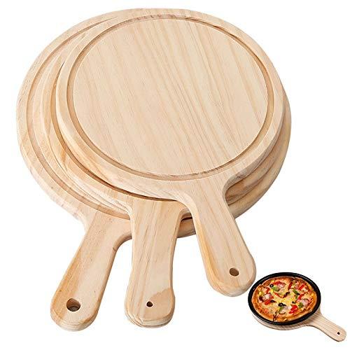 1 x Pizzabrett aus Holz, rund, mit Hand-Pizza-Backblech, Pizzastein, Schneidebrett, Pizza, Kuchen, Backzubehör (Farbe: 22,9 cm).