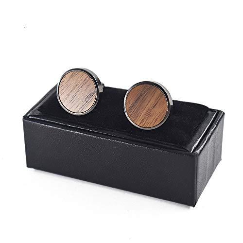 Uteruik Holz-Manschettenknöpfe Herren Hemd Runde Manschettenknöpfe Manschettenknöpfe Schmuck mit Geschenkbox für Anzug Kleidung Accessoires (#A)