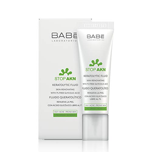 Laboratorios Babé - STOP AKN Fluido Queratolítico 30 ml, Para Piel Grasa, Tratamiento Facial Acné, Ácido Glicólico, Renovación Celular, Disminución de Marcas y Cicatrices