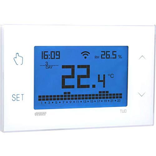 Vemer Ve772000 Tuo Wi-Fi Bianco Cronotermostato Wi-Fi Settimanale da Parete Controllabile da Smartphone con App iOS e Android. Compatibile Google Home e Amazon Alexa
