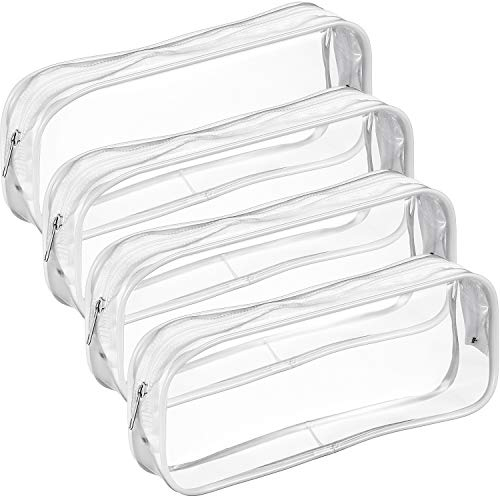 Tatuo 4 Pieces Clear PVC Zipper Pen Pencil Case, Big Capacity Pencil Bag Makeup Pouch (White)