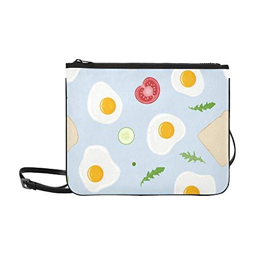 WYYWCY Spiegeleier Toastbrot Tomate Muster Benutzerdefinierte hochwertige Nylon Slim Clutch Crossbody Tasche Umhängetasche