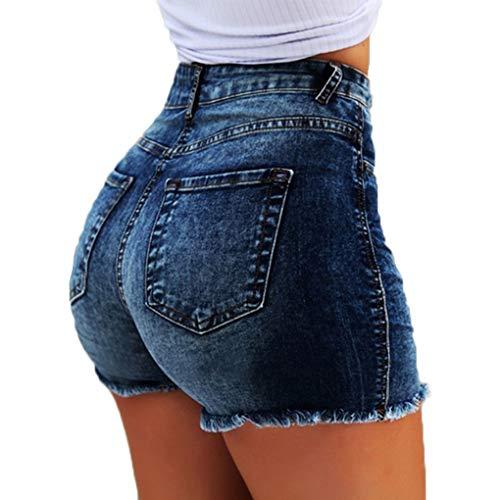 ShallGood Vaquero Mujeres De Cintura Alta con Flecos Casual Hot Jeans Denim Shorts Pantalones Cortos De Verano para Mujeres Pantalones Azul Oscuro XS