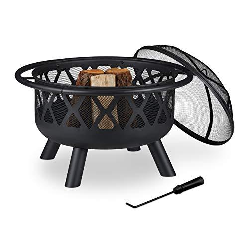 Relaxdays Feuerschale mit Funkenschutz, Garten & Terrasse, mit Schürhaken, Outdoor Feuerstelle, Stahl, Ø 75 cm, schwarz