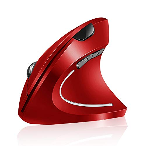 Vassink Ergonomic Rechargeable Wireless Mouse, 2.4Hz Rechargeable Wireless Vertical Optical Mice with USB Receiver, 6 Buttons, 800/1200/1600 DPI RED