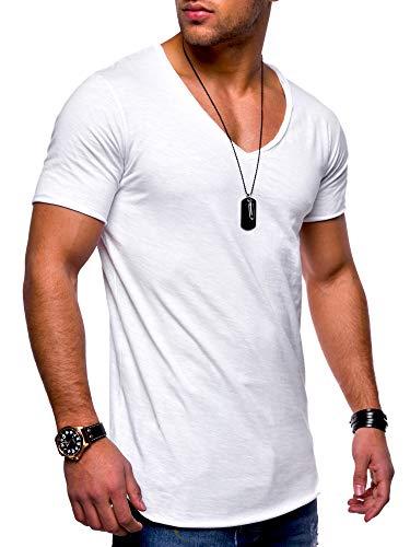 behype. Herren Kurzarm Basic T-Shirt V-Neck Ausschnitt Oversize-Look 20-0002 Weiß M