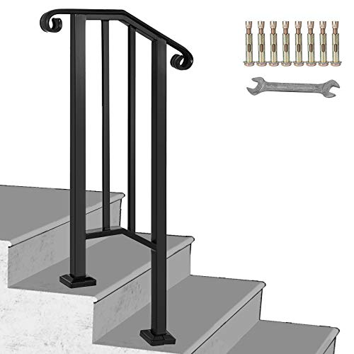 Happybuy Handrail Picket #1 Fits 1 or 2 Steps Matte Black Stair Rail Wrought Iron Handrail with Installation Kit Hand Rails for Outdoor Steps