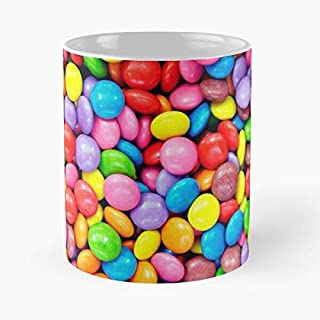 Argentwork Sweets Colors Colorful Color Rainbow Smarties Candies Sweet Taza de café con Leche 11 oz