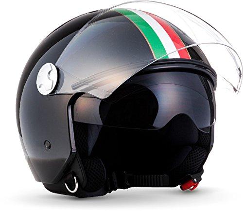 "ARMOR HELMETS® AV-63 ""Italy Black"" · Jet-Helm · Motorrad-Helm Roller-Helm Scooter-Helm Moped Mofa-Helm Chopper Retro Vespa Pilot · ECE 22.05 Sonnenvisier Schnellverschluss Tasche M (57-58cm)"