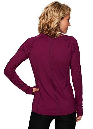 RBX Active Women's Peached Crewneck T-Shirt Long Sleeve Top with Mesh F.19 Dark Red XL