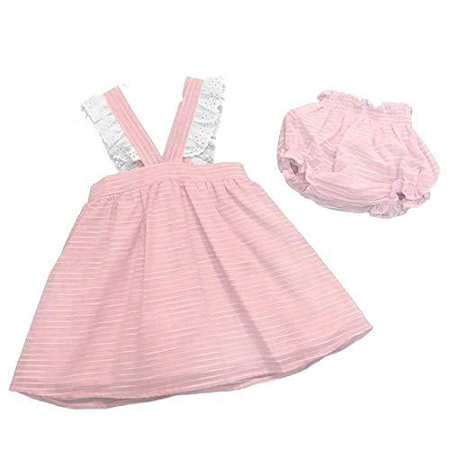 PALOMA DE LA O La O MV8CJ1 - Vestido de rayas de algodón rosa y blanco con culote de bebé Rosa 24 Meses