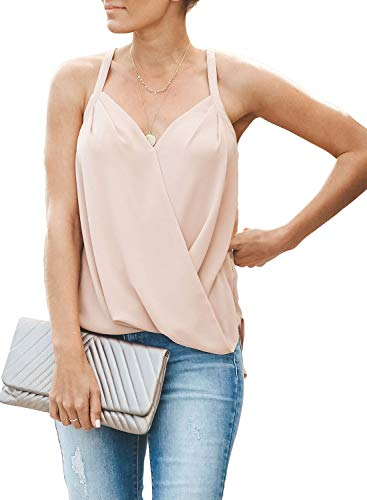 Womens Tanks Basic Loose Solid V Neck Sleeveless Straps Ruched Camisole Tank Tops Blouses Shirts for Jeans Apricot L