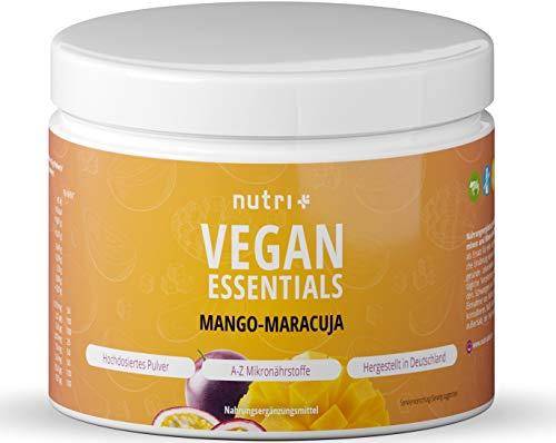 VEGAN ESSENTIALS Mango-Maracuja - Complete Präparat 300g Vitamin Pulver für Veganer - Nutri-Plus Daily mit Vitamin B12, D3, Eisen, Selen, Zink - Vegane Vitamine + Mineralien