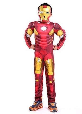 Vestito di Carnevale da Iron Man con Busto Muscoloso Idea Travestimento Bambini Taglia S 4-5 anni