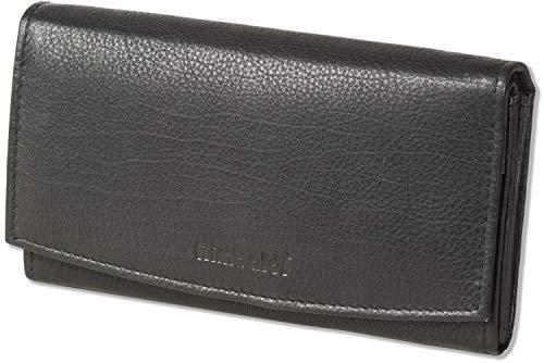 Rimbaldi® Damengeldbörse aus Rindsleder in Schwarz, mit vielen Fächern und mit naturbelassener Oberfläche, Schwarz