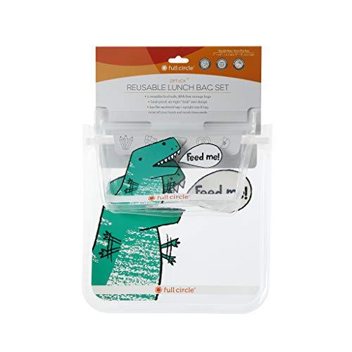Full Circle ZipTuck Kids Reusable Plastic Food and Storage Bag, Lunch Set, Dinosaur
