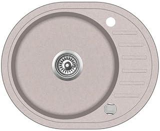 VBChome Spüle Spülbecken Granit 59x46 cm Einzelbecken Küche Einbauspüle Verbundspüle Küchenspüle beige gesprenkelt  Drexexcenter  Siphon Waschbecken