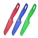 Juego de 3 cuchillos de fruta, cuchillo de frutas afilado y duradero con cubierta protectora, apto para la mayoría de los tipos de verduras, frutas y carne (azul, verde, rojo)