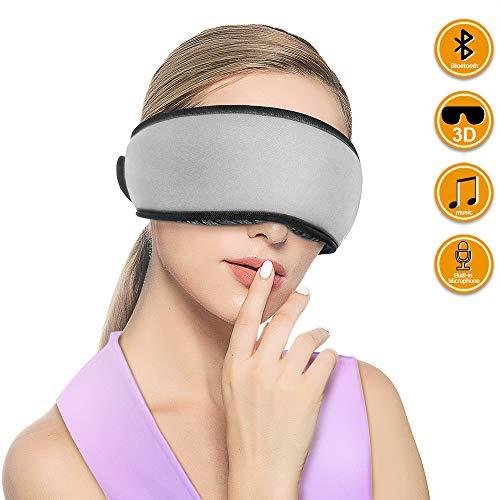 Qshell - Máscara de ojos para dormir con diseño ergonómico 3D, auriculares inalámbricos Bluetooth para dormir, micrófono manos libres para el hogar y viajes, el mejor regalo para hombres - gris