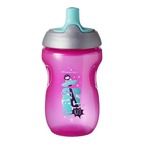 Tommee Tippee Botella para Niños Sportee, Bidón Deportivo Antigoteo, 12+ Meses, Sin BPA, 300ml, Rosa, 1 Unidad