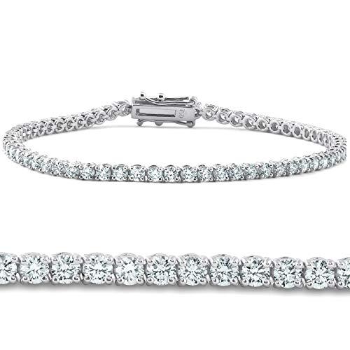 4ct Lab Grown Diamond Tennis Bracelet 14K White Gold 7' IGI Certified
