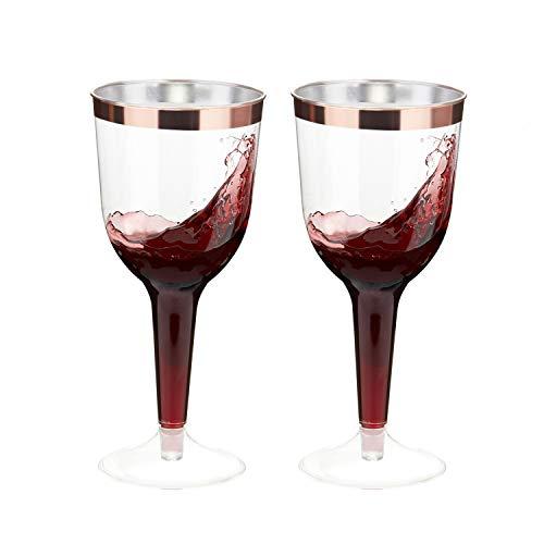 TOROTON 30 Vasos de Vino Plástico, 300ml Reutilizables y Reciclables Copas de Vino Transparentes Desechables, Fiestas, Bodas o Cualquier Ocasión - Oro Rosa