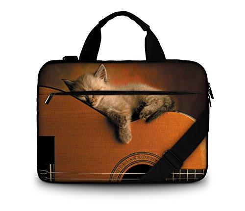 Luxburg-Bolso acolchado con bandolera para ordenador portátil, bolsa de hombro multifuncional 13,3 - 14,2 pouces gato sobre guitarra