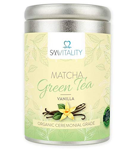 (100g) SM Vitality Organic Matcha Vanilla Tea Powder | Healthy Vitamin-Rich Japanese Matcha Green Tea Powder for Drinking | Rich in Antioxidants, Boosts Immune System, Metabolism, Aids Weight Loss