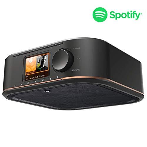 Hama WLAN Streaming-Internetradio Küchenradio Unterbau (Spotify, unterbaufähig, 2,4 Zoll Farbdisplay, WiFi, 2 Weckzeiten, Multiroom, Klemmmontage ohne Bohren, gratis Radio-App, Eieruhr) schwarz/kupfer