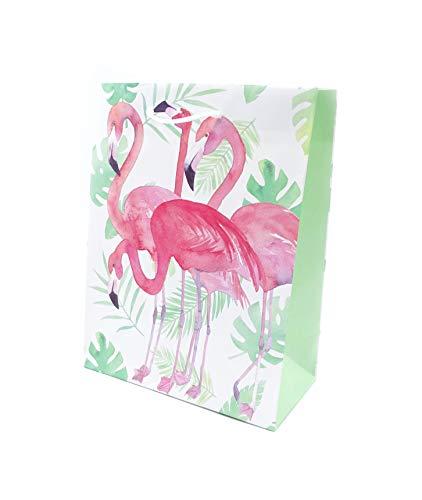 onweerstaanbaar1 Pack van 3 groep van vier roze Flamingo's onder exotische planten met witte koordgrepen 23 cm x 18 cm x 9 cm Flamingo Print Large