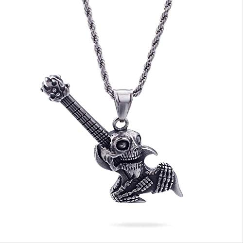 ZJJLWL Co.,ltd Collar Personalidad Europea y Americana Punk Goth Skull Guitarra eléctrica...