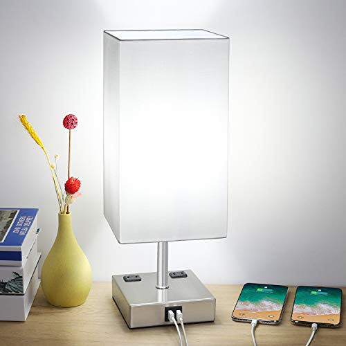 Touch Table Lamp, 3-Way Dimmable Touch Lamp Bedside Lamp with 2 USB Ports and 2 AC Outlets, Modern Desk Lamp Nightstand Lamp for Bedroom Living Room Reading Office, 60W 5000K LED Bulb Included(Silver)