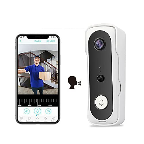 Videoportero WiFi de seguridad, timbre para videocámara batería sin hilos 1080P HD, audio de 2 vías, impermeable IP65, detección PIR, gran angular 166°
