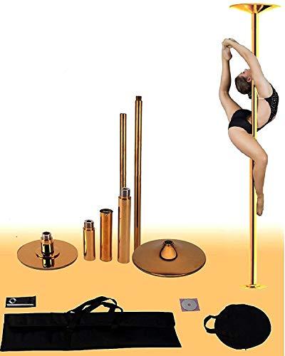 X-Dance 50mm Gold Chrome 9Ft Dance Pole Portable Fitness Exercise...