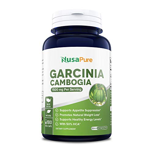 Pure Garcinia Cambogia 180 Veggie Caps 1500mg (Vegetarian, Natural, Non-GMO & Gluten Free) - Weight Loss Supplement - Natural Appetite Suppressant
