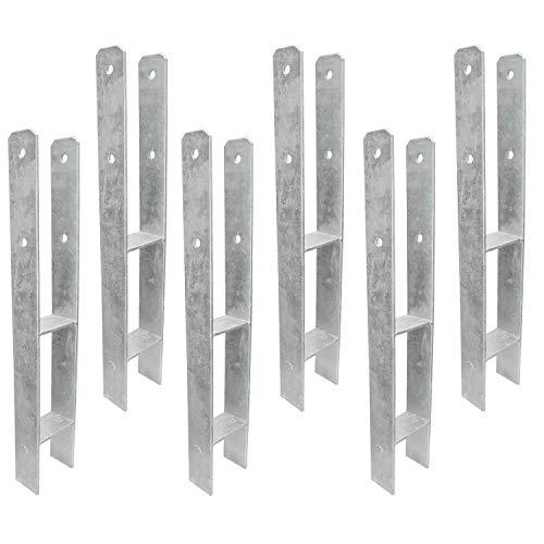 6 H-Pfostenträger - Gabelweite 81 für 80mm Pfosten, 600 mm Länge, 5mm - feuerverzinkt -