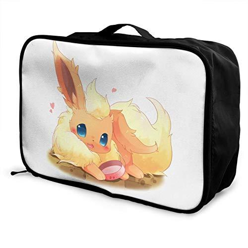 Anime Eevee - Bolsa de equipaje portátil de gran capacidad, impermeable, ligera, de viaje, hecha de poliéster, con patrones de impresión elegantes y exquisitos