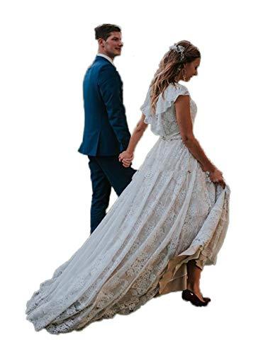 CoCogirls Robe de mariée bohème en dentelle - Dos nu - Manches courtes - Col rond - Robe de mariage - Robe de soirée - Beige - 50