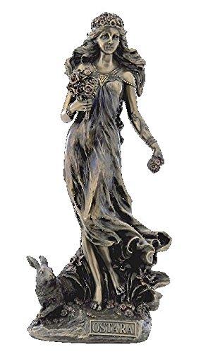 Unbekannt Figur Ostara Germanische Frühlingsgöttin mit Hasen 27 cm bronziert Skulptur Veronese