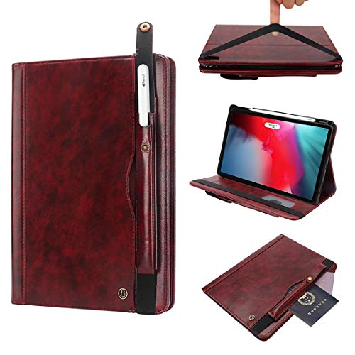 un known Crazy-horse Texture Horizontal Flip Leather Case for iPad Pro 11 inch (2018), with Card Slots & Pen Slot & Holder & Wallet Accessory Same Parts From Original Factory (Color : Wine red)