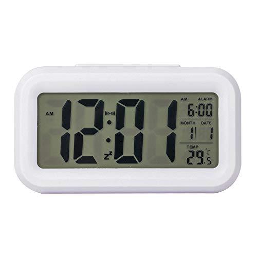 Lancoon Reisewecker - Digitaluhr Mit Großem LCD-Bildschirm, Blauer Hintergrundbeleuchtung, Kalender, Schlummerfunktion Und Temperaturanzeige - AC06 White