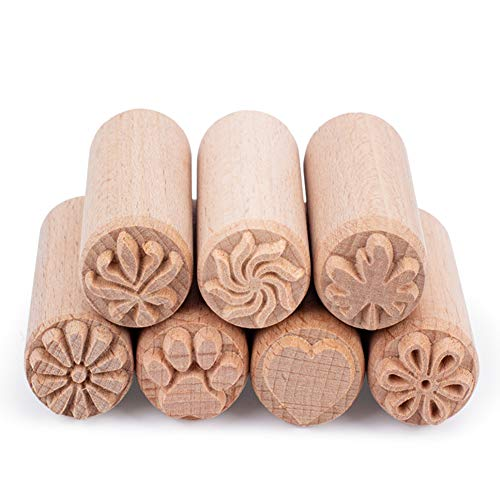 """OLYCRAFT 7PCS Wood Pottery Tools Stamps Column Wooden Stamps Natural Wood Stamps with Mixed Patterns for Clay Christmas Birthday Gift, 50 x 20mm(2""""x0.7"""")"""