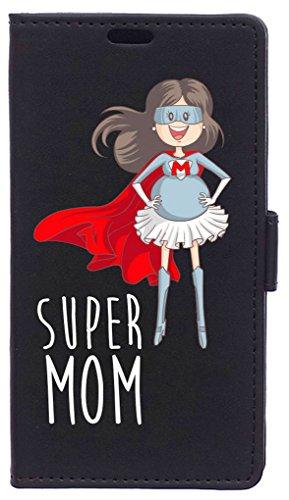 Be Cool Buch Tasche für Vodafone Smart e8- Schutzhülle mit Standfunktion, Arbeitsspeicher für tarjetes & Geldscheine, Motiv Super Mama