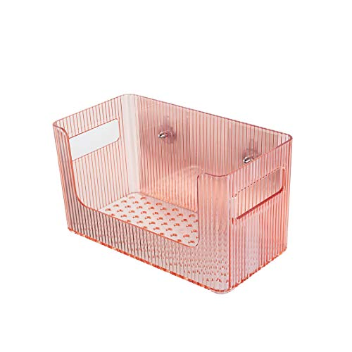 KYHS Bathroom Wall-Mounted Shelf Square Non-Perforated Storage Rack Non-Marking Suction Wall Toiletries Storage Box (Orange)