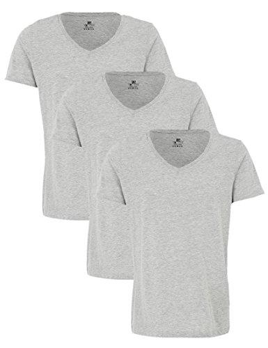 Lower East Herren Basic-T-Shirt mit tiefem V-Ausschnitt, 3er Pack, Hellgrau Melange, L