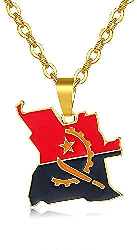 Collar para mujer Collar para hombre Colgante de mapa de angola y collar de bandera para mujer / hombre color oro colgante joyería africana tarjetas de país joyería mujer colgante collar regalo pa