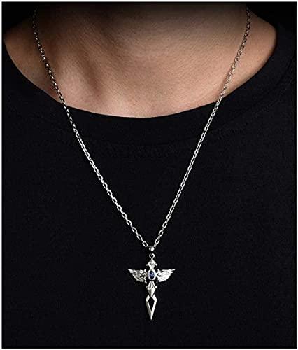 NC110 Collar con Colgante de alas de ángel para Mujeres y Hombres, joyería de Plata, Regalos para los niños del Novio-angeltitaniumsteel_55cm YUAHJIGE